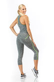 2 Piece, Capri Workout Set - Grey/Green Trim