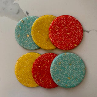 Coaster - Round Blue, Red, and Yellow Flowers with Gold Flakes