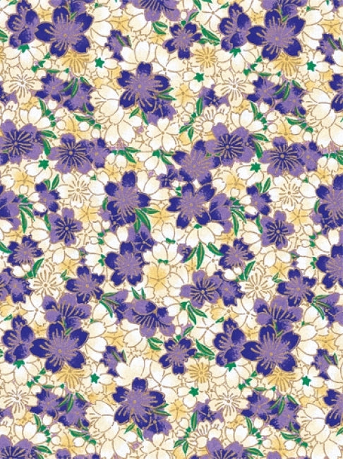 Purple and White Floral Chiyogami