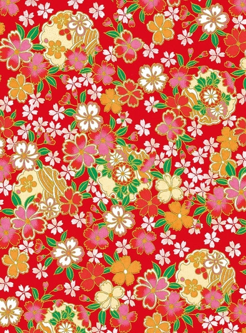 Red and Orange Floral Chiyogami