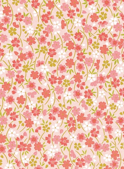Pink and Gold Floral Chiyogami