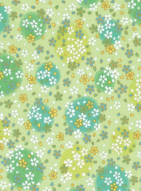 Green and White Floral Chiyogami