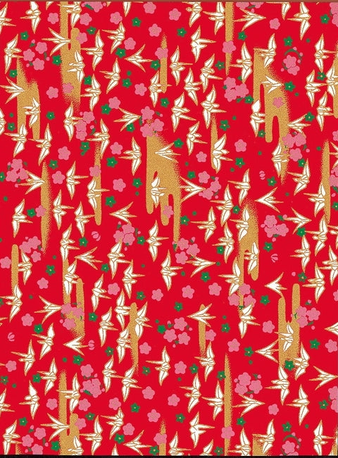 Red and Gold Traditional Birds Chiyogami