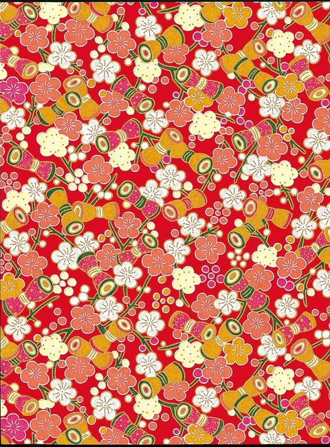 Red and White Floral Chiyogami