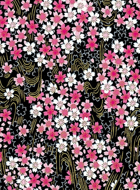 Black Pink and Gold Floral Chiyogami