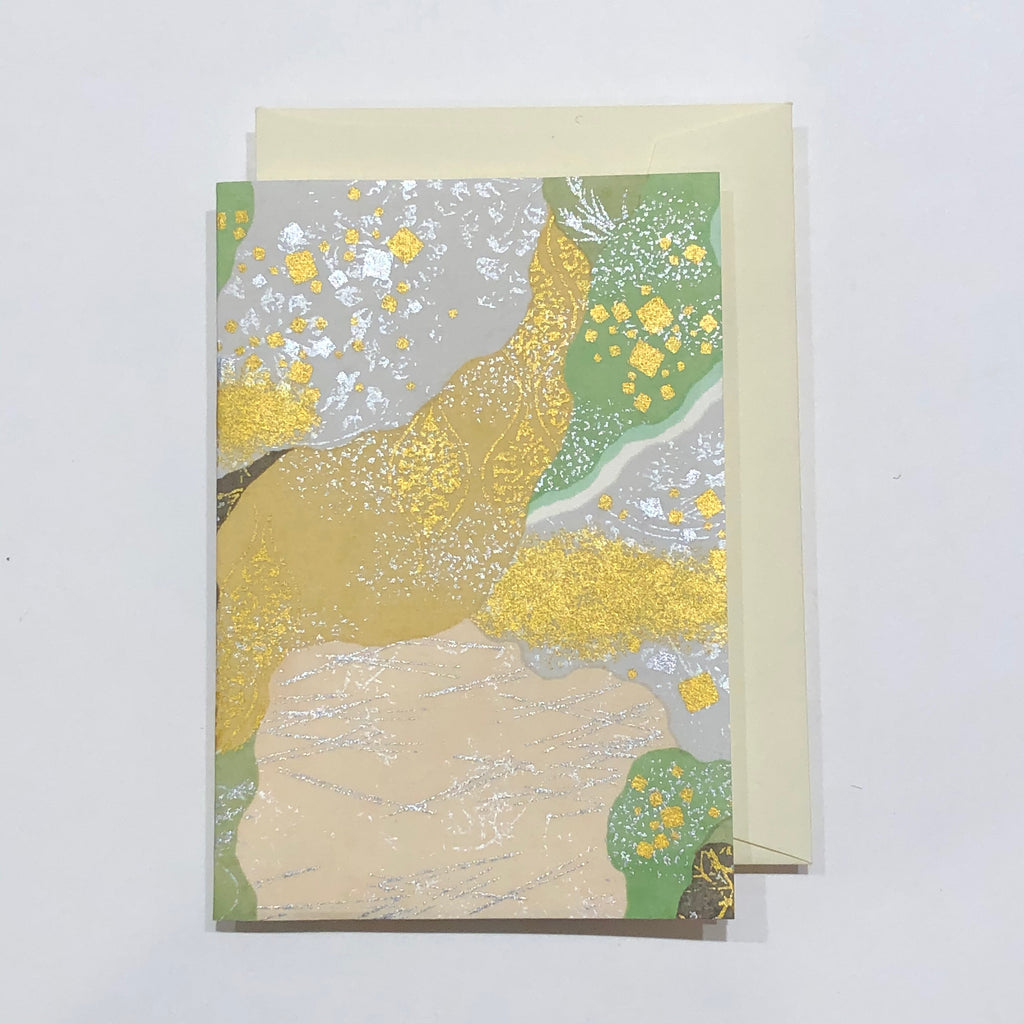 Handmade Single Yuzen Card - Kasane Tsugi Green
