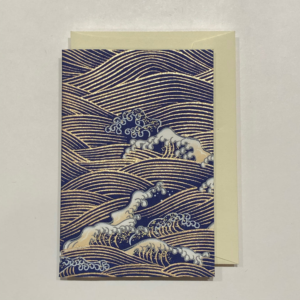 Handmade Single Yuzen Card - Wave