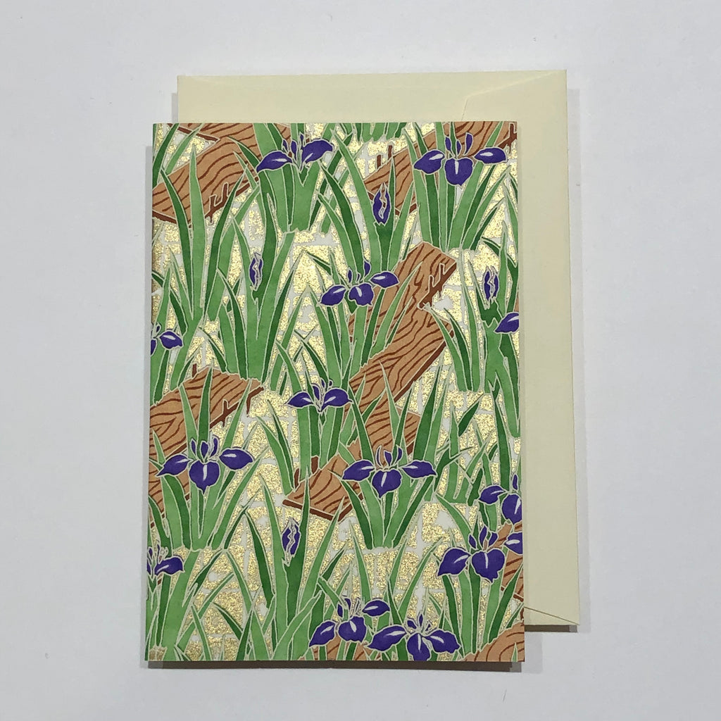 Handmade Single Yuzen Card - Iris Garden
