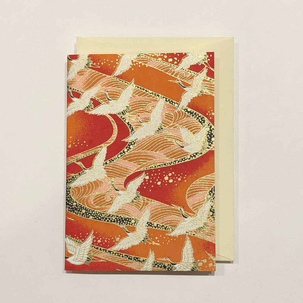 Handmade Single Yuzen Card - Sunset Cranes