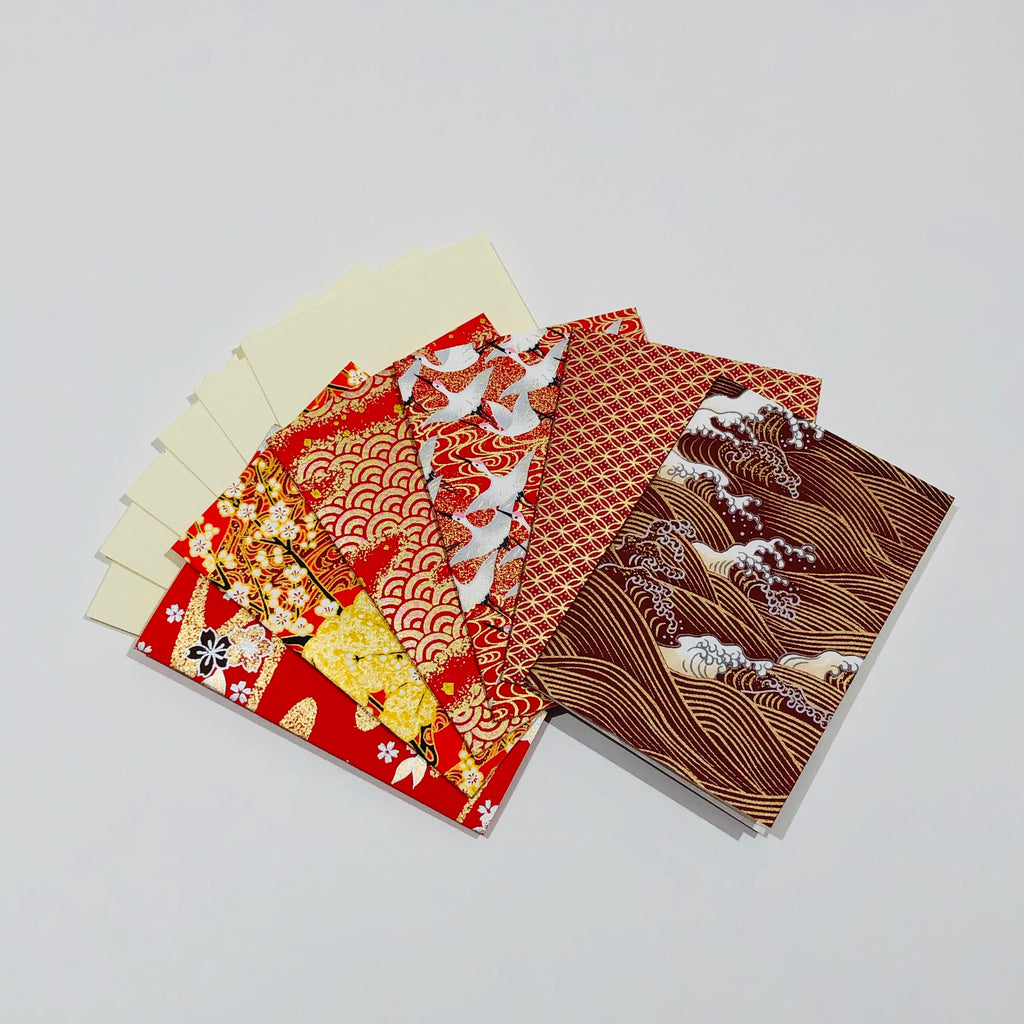 Handmade Boxed Yuzen Cards - Scarlet Dreams