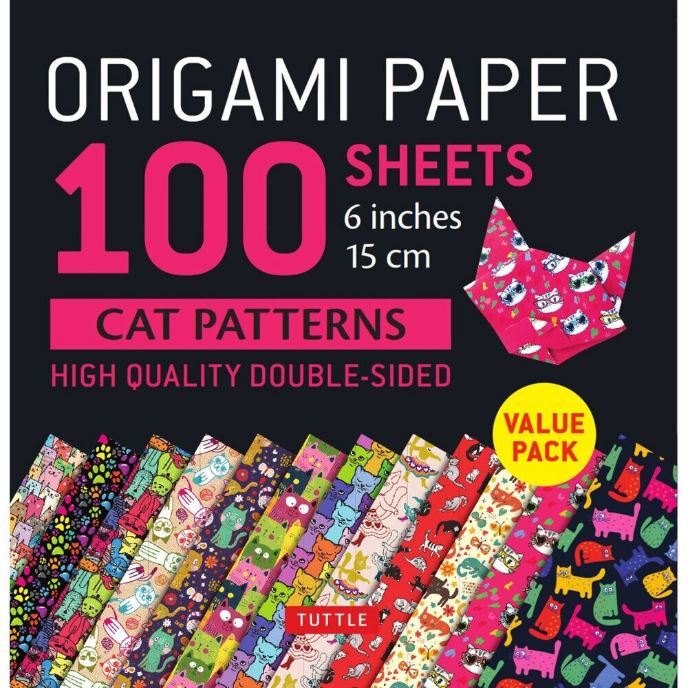100 Sheets Cat Patterns Origami Paper