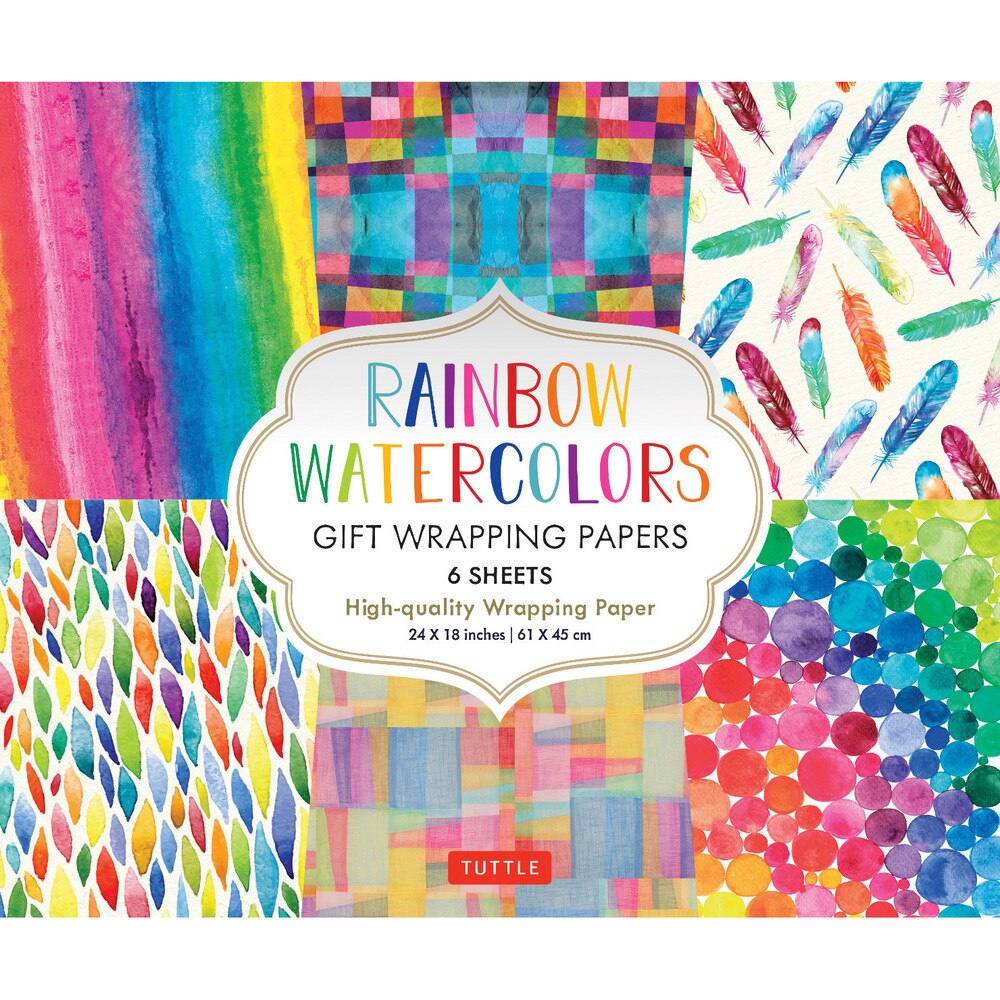 Rainbow Watercolors Gift Wrapping Paper