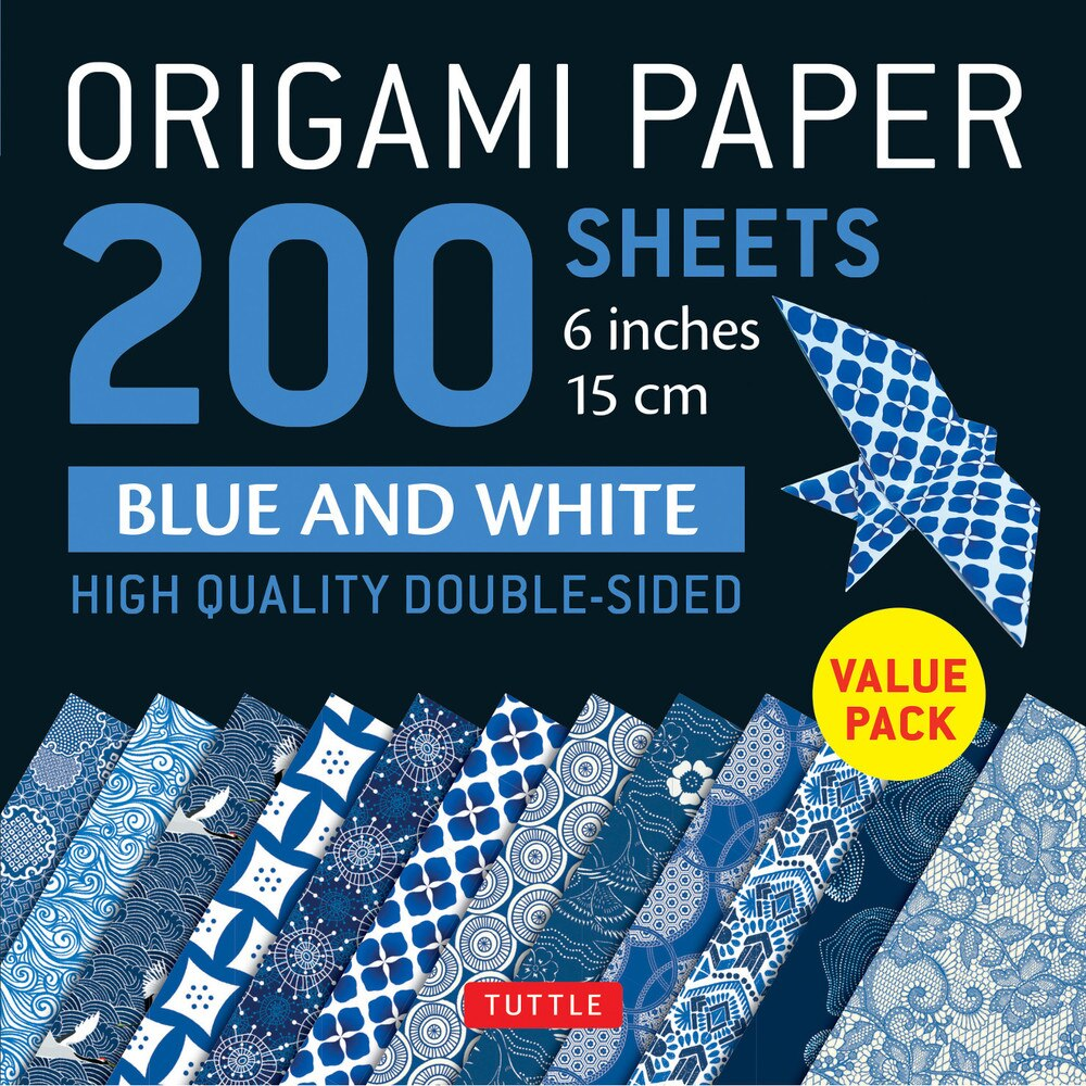 200 Sheets Blue & White Patterns Origami Paper