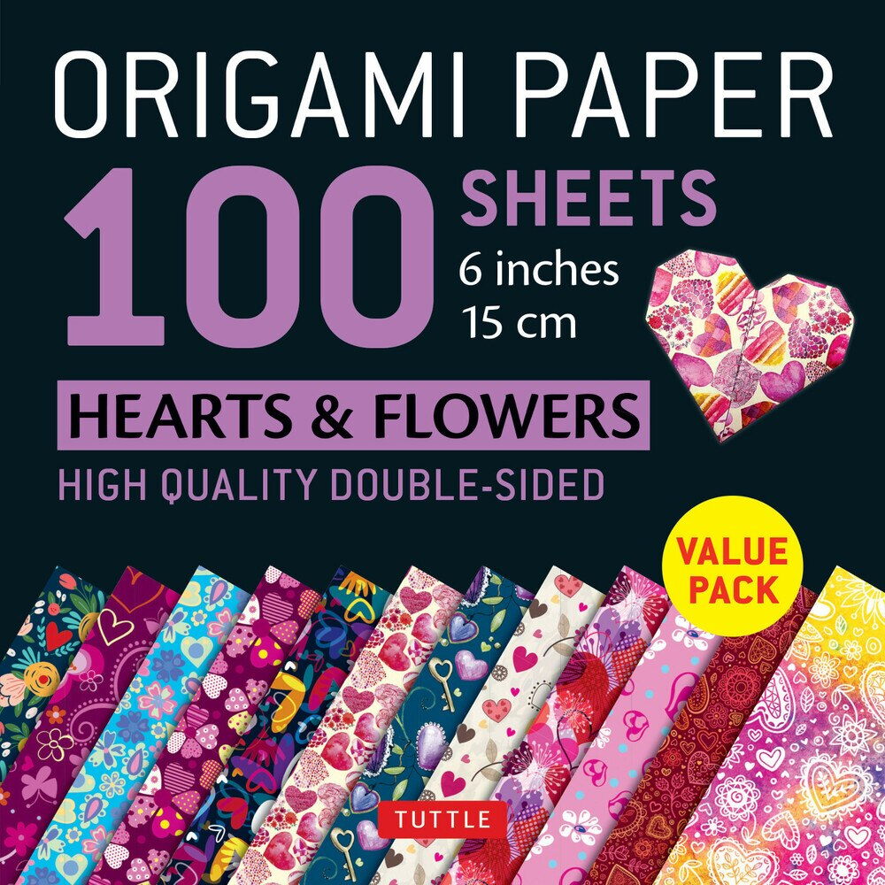 100 Sheets Hearts and Flowers Pattern Origami Paper