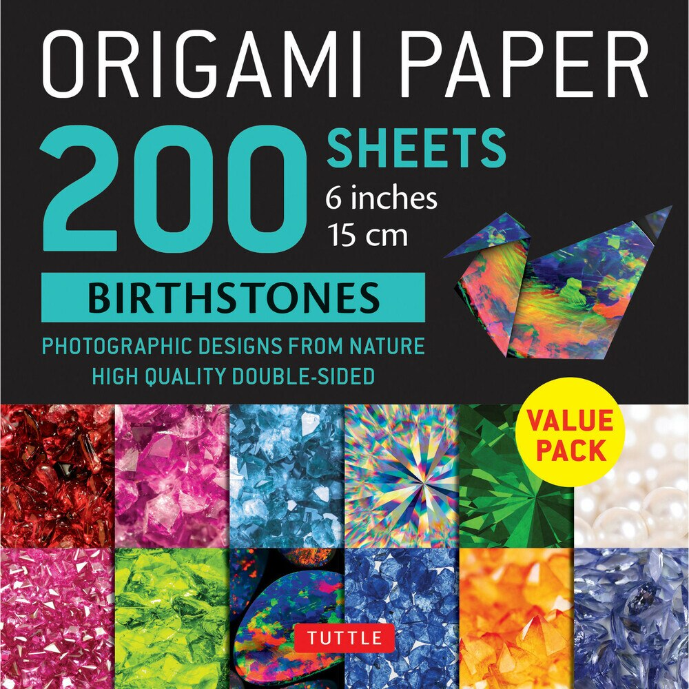 200 Sheets Birthstone Patterns Origami Paper