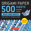 500 Sheets Blue and White Patterns Origami Paper