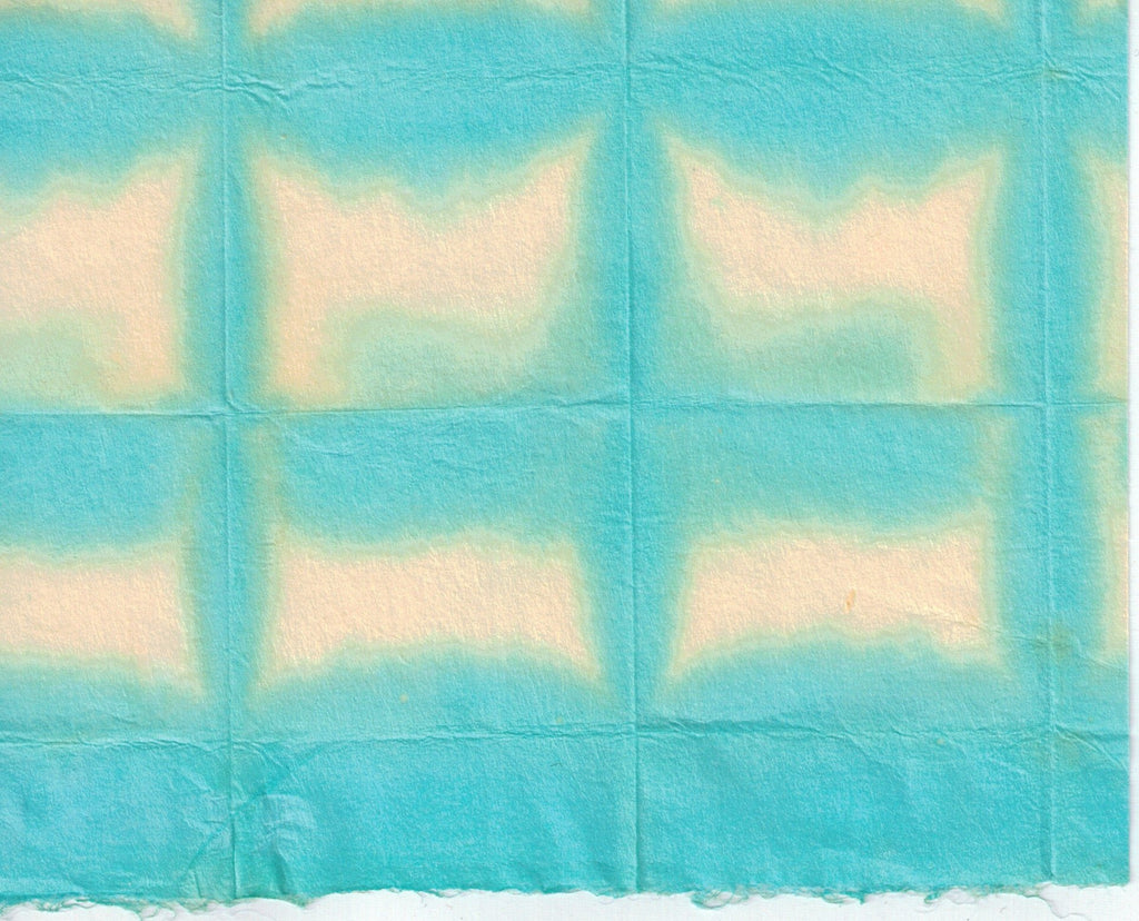 Itajime Shibori Window - Turquoise Yellow
