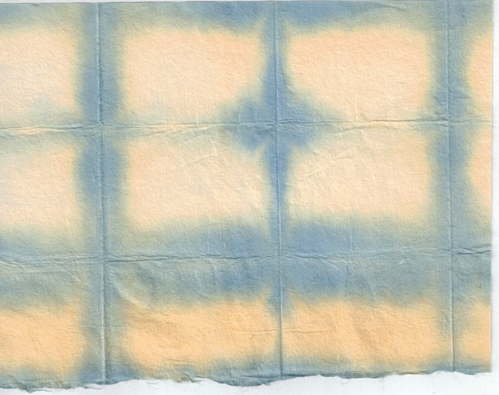 Itajime Shibori Window - Blue Yellow