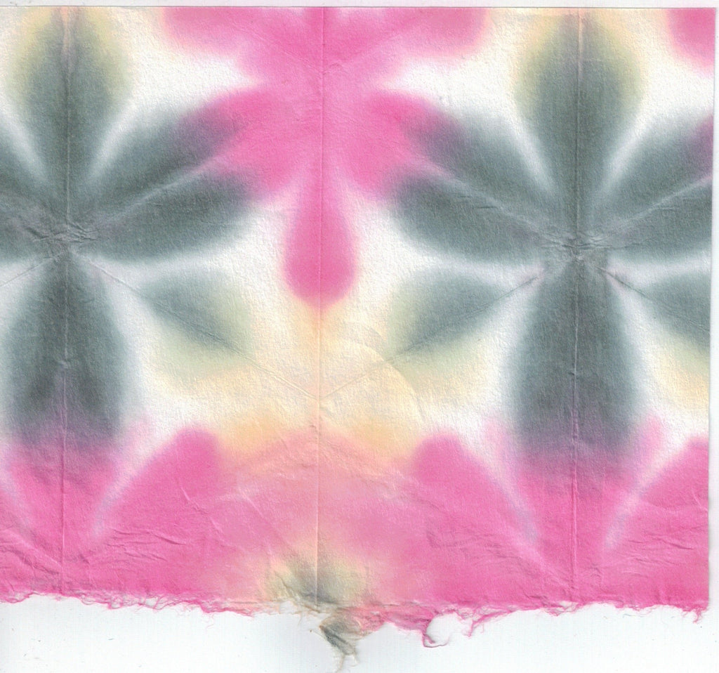 Itajime Shibori Flower - Magenta Forest Yellow