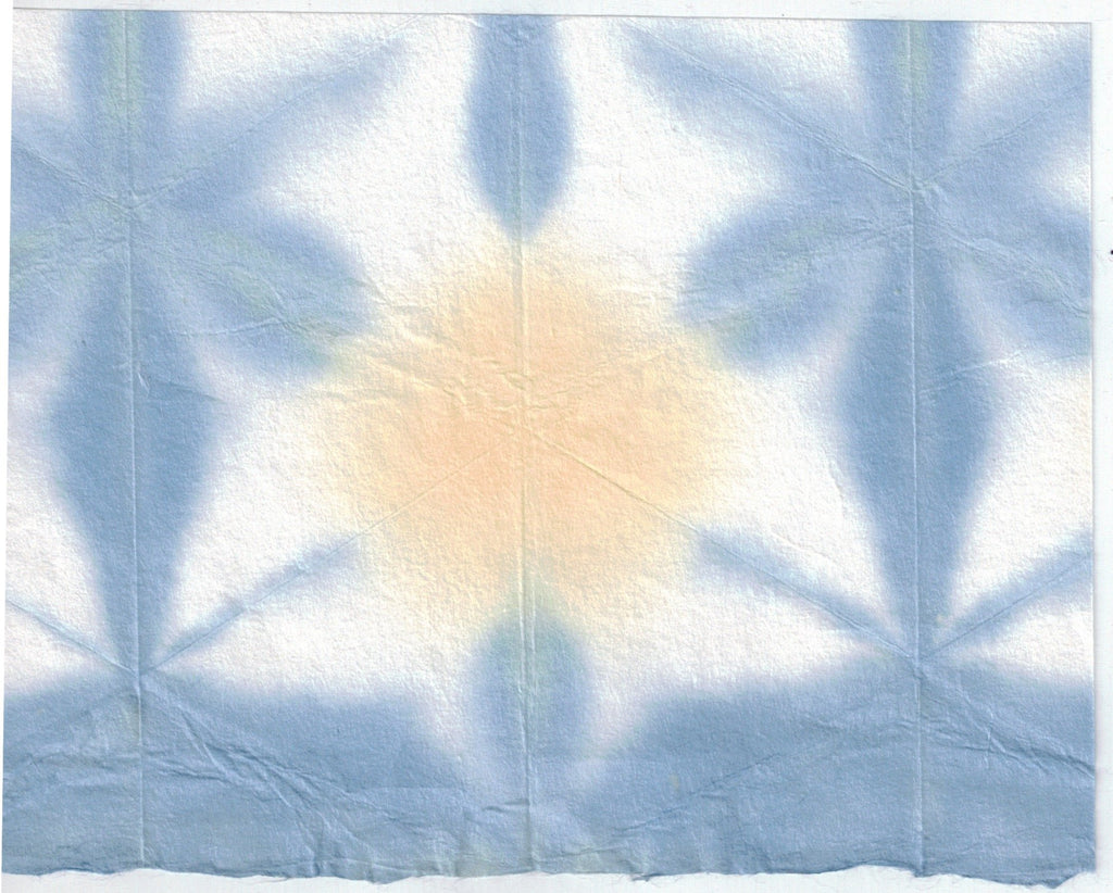 Itajime Shibori Flower - Blue Yellow