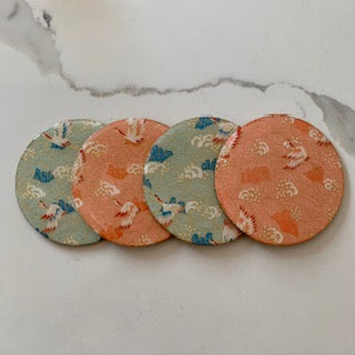 Coaster - Round Light Pink and Blue Cranes