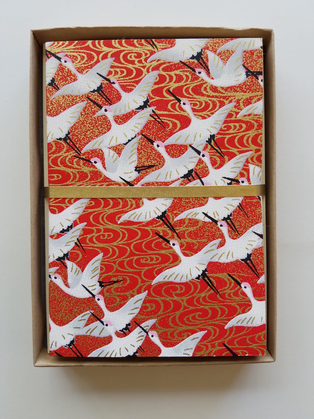 Handmade Boxed Yuzen Cards - Flying Cranes