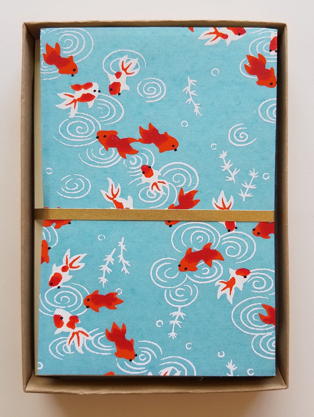 Handmade Boxed Yuzen Cards - Goldfish