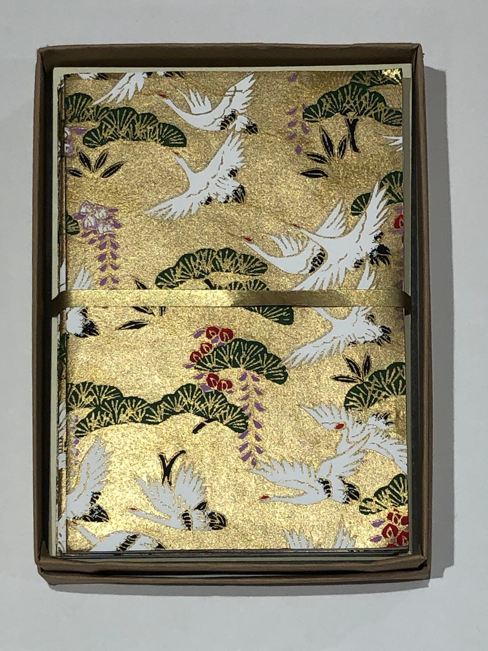 Handmade Boxed Yuzen Cards - Cranes and Pines