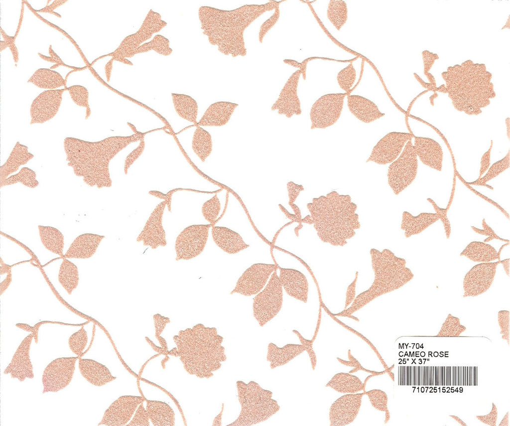 Flocked Morning Glory Paper - Cameo Rose