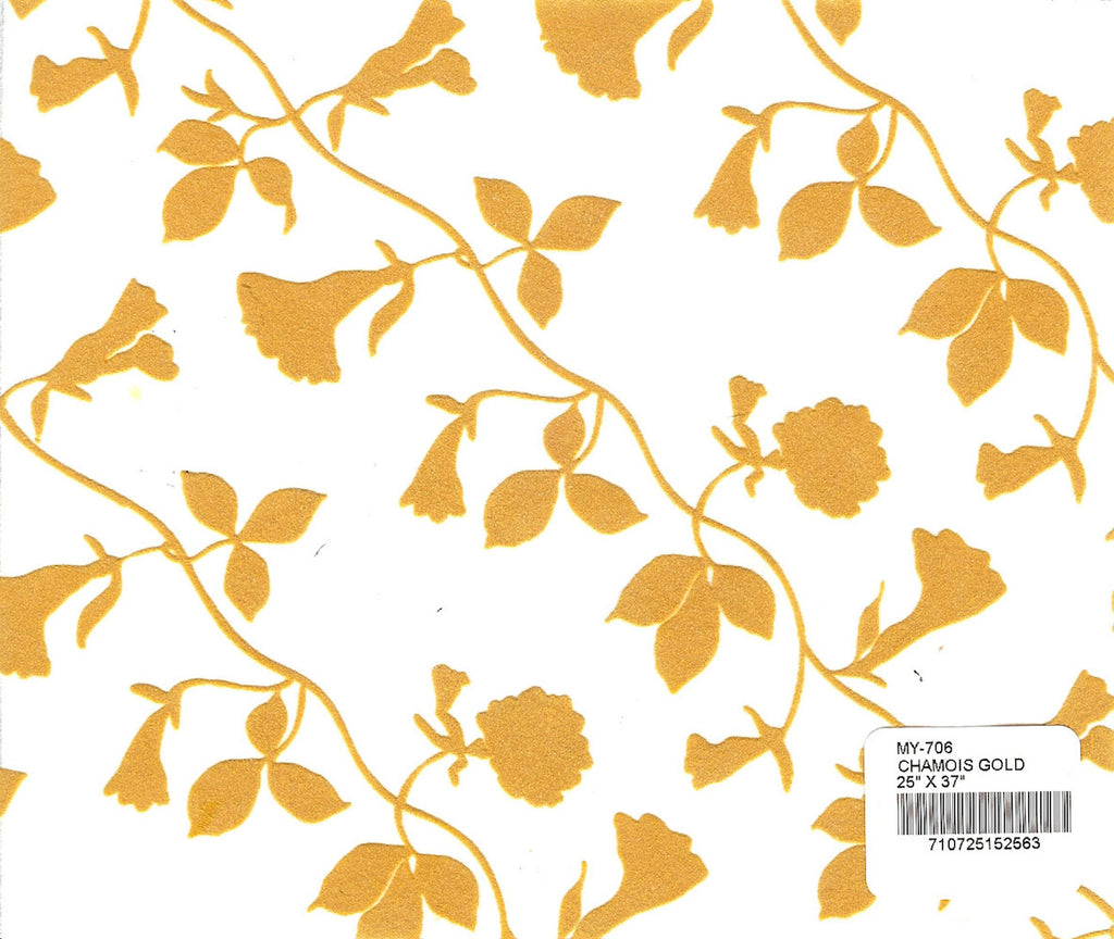 Flocked Morning Glory Paper - Chamois Gold