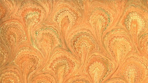 Italian Marble Peacock Pattern - Oranges, Green