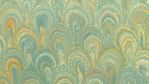 Italian Marble Peacock Pattern - Turquoise, Yellow