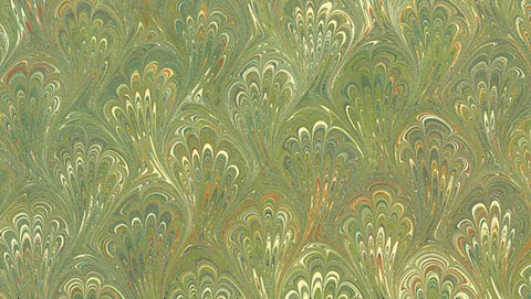 Italian Marble Peacock Pattern - Olive, Green