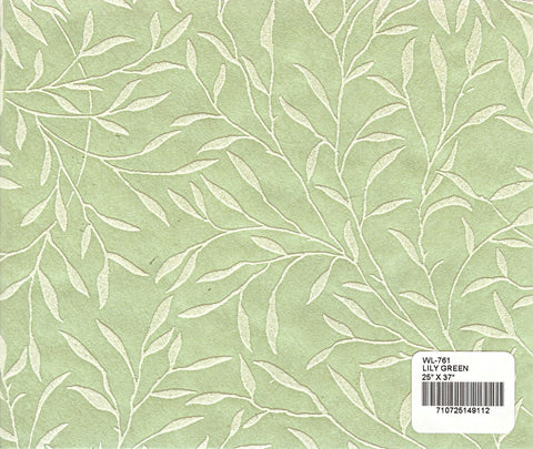 Flocked Willow Paper - Lily Green