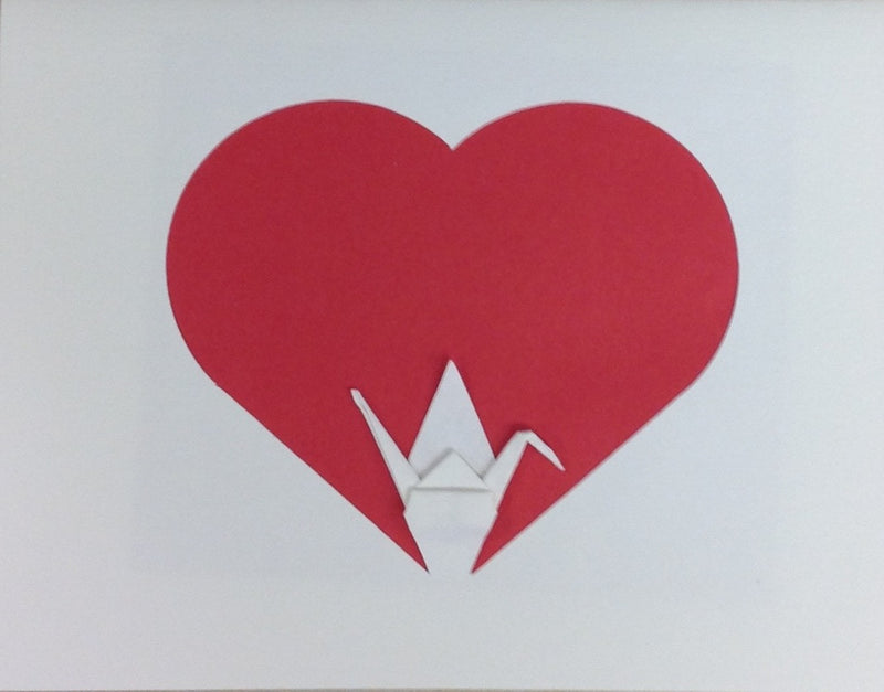 Crane in Heart Card