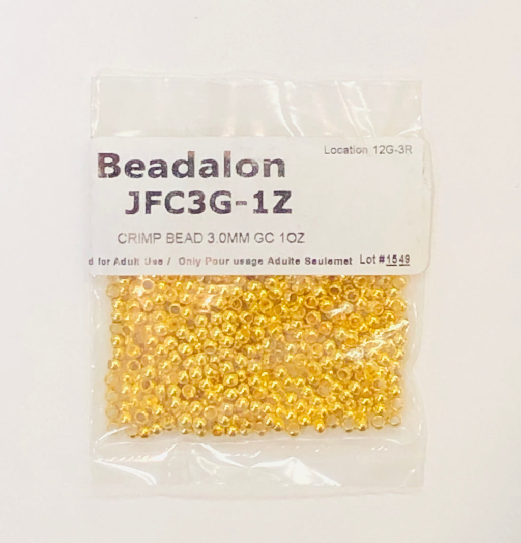 Gold Crimp Beads, Size #3, 1 oz