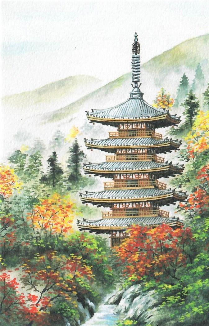 Autumn Pagoda in the Mountains Card