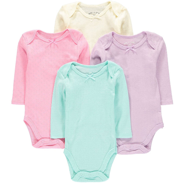Wan-A-Beez 4 Pack Long Sleeve Bodysuits - Pointelle