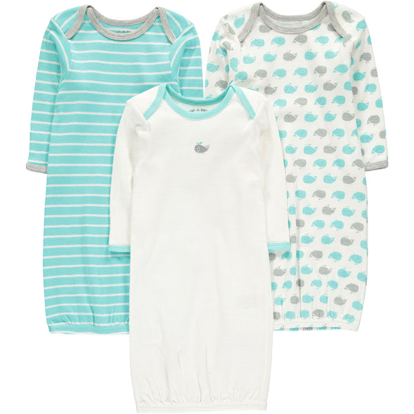 Wan-A-Beez Baby Boys' 3 Pack Printed Gown - Turquoise Whale