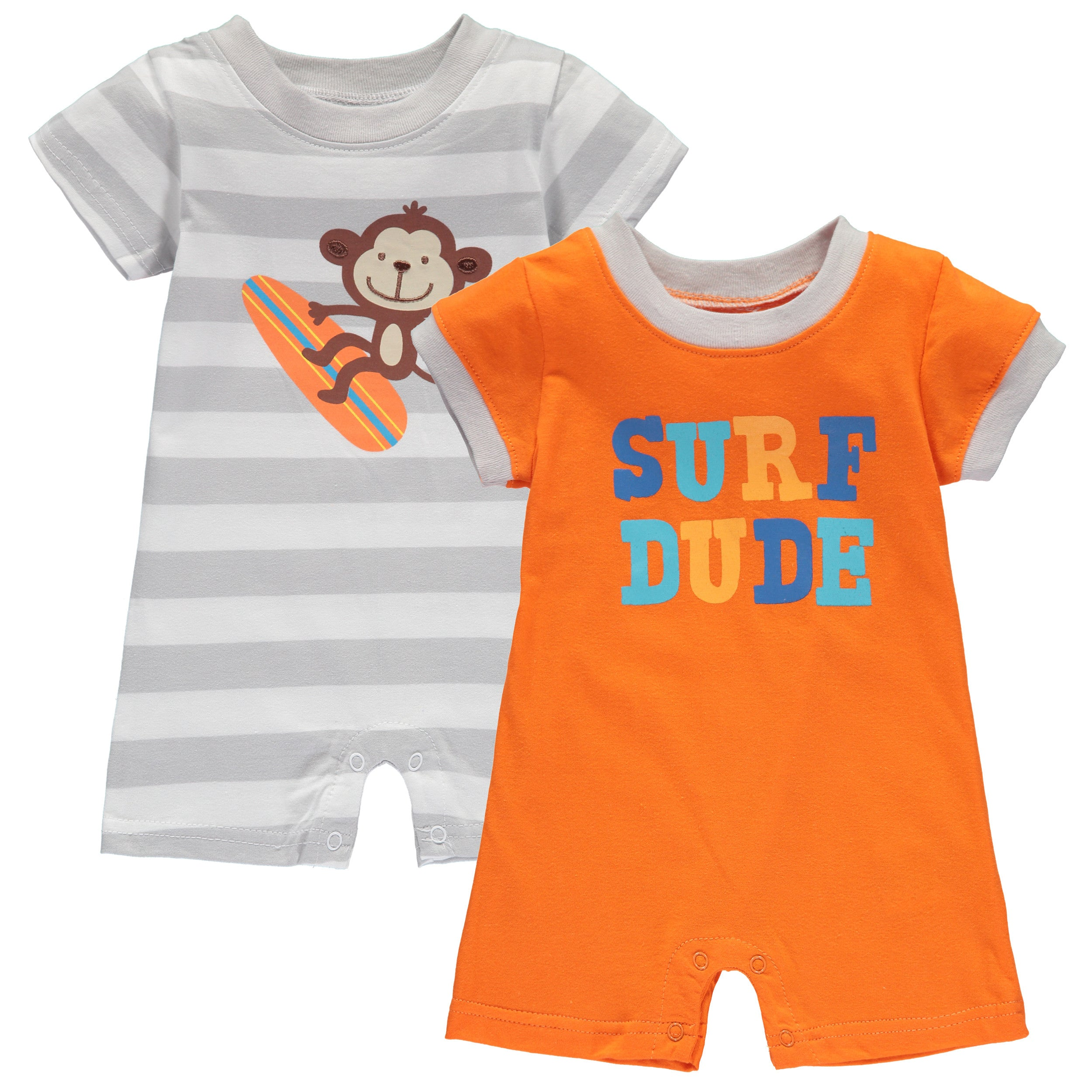 42569ff42 Wan-A-Beez Baby Boys  2 Pack Graphic Short-Sleeve Romper - Surfing ...