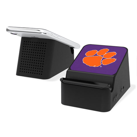 Clemson Tigers Solid Wireless Charging Station and Bluetooth Speaker