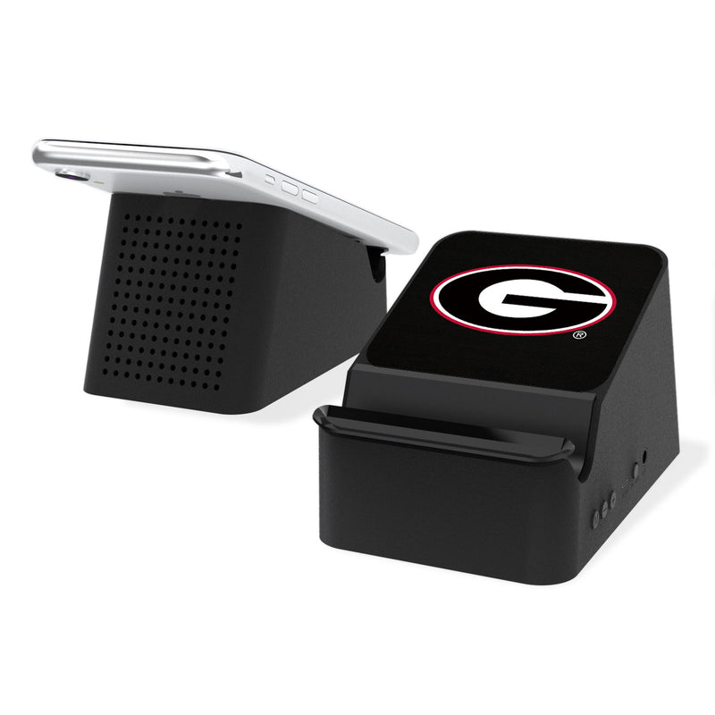 Georgia Bulldogs Solid Wireless Charging Station and Bluetooth Speaker