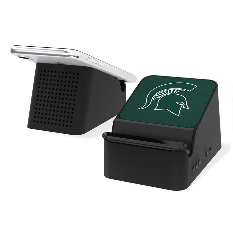 Michigan State Spartans Solid Wireless Charging Station and Bluetooth Speaker