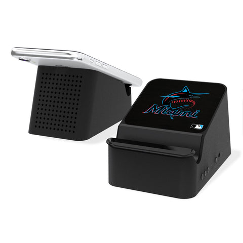 Miami Marlins Marlins Solid Wireless Charging Station and Bluetooth Speaker