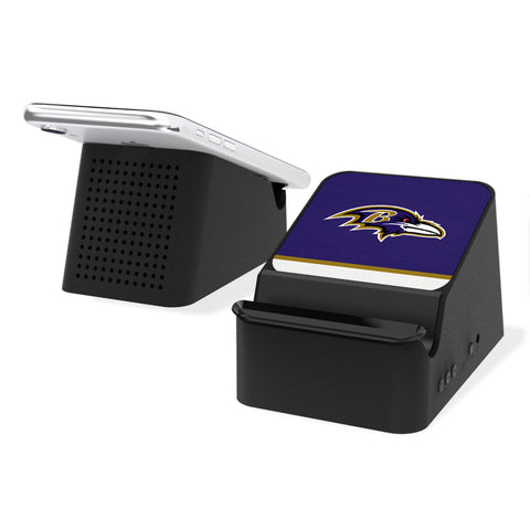 Baltimore Ravens Stripe Wireless Charging Station and Bluetooth Speaker