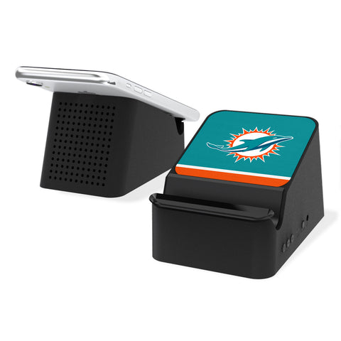 Miami Dolphins Stripe Wireless Charging Station and Bluetooth Speaker