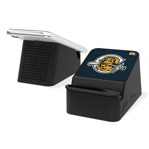 Charleston RiverDogs Solid Wireless Charging Station and Bluetooth Speaker