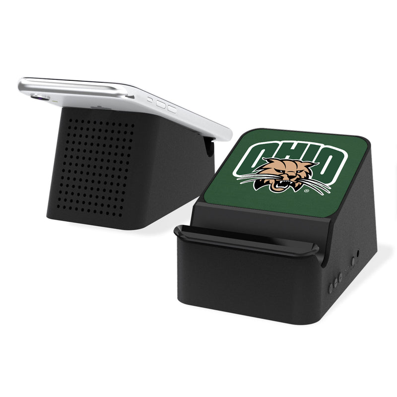 Ohio University Bobcats Solid Wireless Charging Station and Bluetooth Speaker