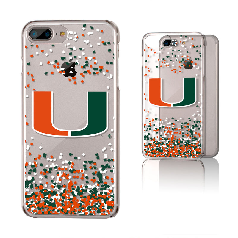 Miami Hurricanes Confetti iPhone 7+ / 8+  Plus Clear Slim Case