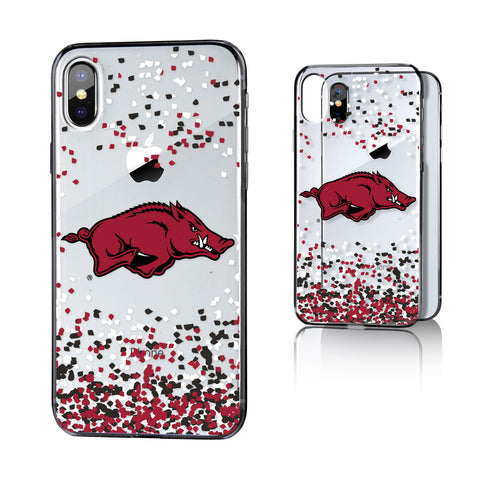 Arkansas Razorbacks Confetti Clear Case for iPhone X